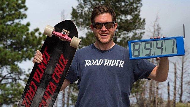 Самый быстрый скейтбордист мира побил свой собственный рекорд