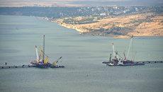 Строительство транспортного перехода через Керченский пролив в Крыму. Архивное фото