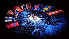 Флаги стран-участниц Арктического совета на Северном полюсе. Архив