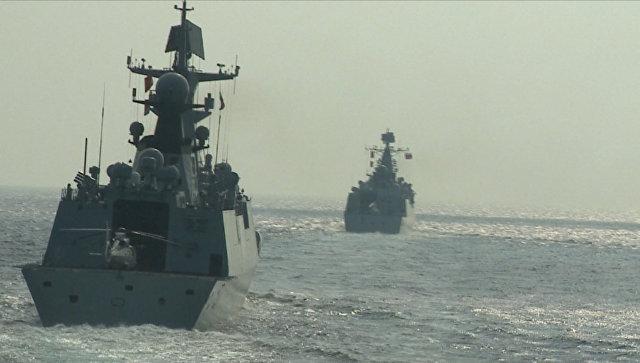 Корабли ВМФ России и ВМС Китая на учениях Морское взаимодействие — 2016