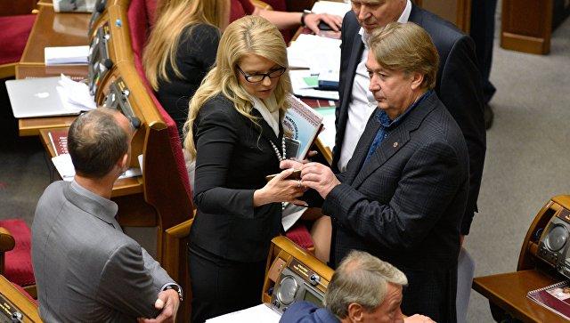 Лидер фракции ВО Батькивщина Юлия Тимошенко на заседании Верховной Рады Украины в Киеве. 20 сентября 2016