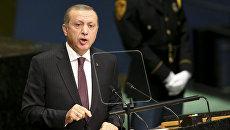 Президент Турции Реджеп Тайип Эрдоган выступает на заседании Генеральной ассамблеи ООН в Нью-Йорке. 20 сентября 2016