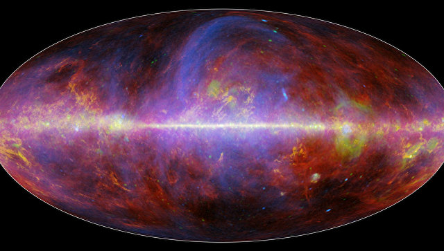 """Галактика и заполняющая ее пыль """"глазами"""" телескопа """"Планк"""