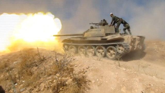 Столкновение боевиков и правительственных войск Сирии на севере Хамы