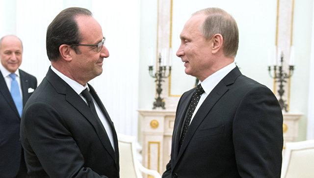 Президент России Владимир Путин и президент Франции Франсуа Олланд. Архивное фото
