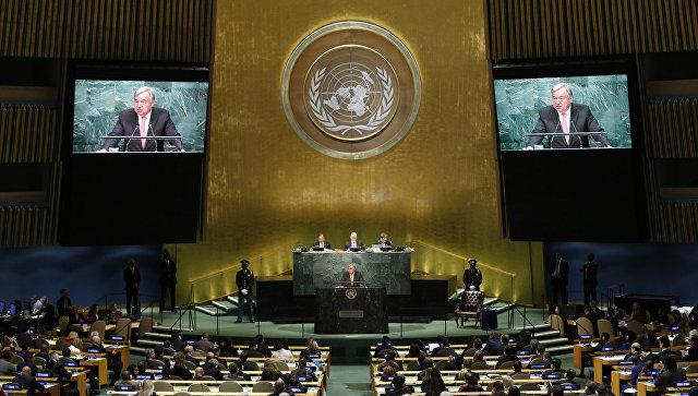 Antonio Guterres durante una riunione dell'Assemblea Generale delle Nazioni Unite.  Foto d'archivio
