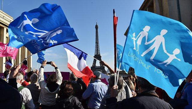 Встолице франции тысячи людей вышли надемонстрацию против однополых браков