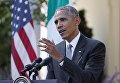 Президент США Барак Обама во время пресс-конференции по итогам переговоров с премьер-министром Италии Маттео Ренци в Вашингтоне