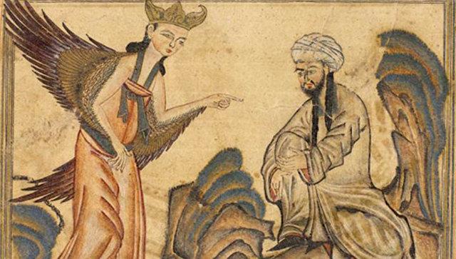 Пророк Мухаммед получает своё первое откровение от ангела. Миниатюра