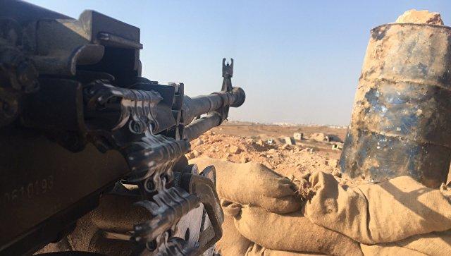 Огневая позиция сирийской армии в районе части ПВО на юге Алеппо
