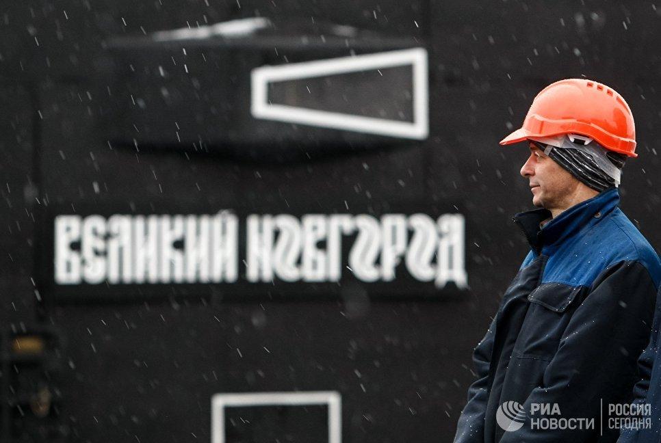 Церемония передачи ВМФ РФ дизель-электрической подводной лодки Великий Новгород в Санкт-Петербурге