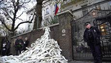 Демонстранты соорудили пирамиду из пластиковых рук у посольства РФ в Лондоне