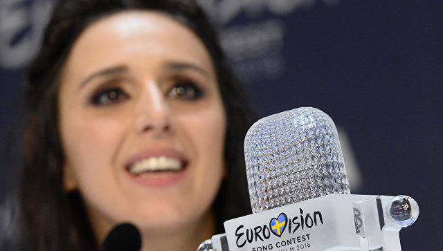 Певица Джамала (Украина), победившая в финале международного конкурса Евровидение-2016 во время пресс-конференции