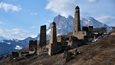 Историко-архитектурный башенный комплекс Пялинг, расположенный в Джейрахском районе Ингушетии. Архивное фото