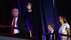 Дональд Трамп с супругой Меланьей и сыном Барроном. Архивное фото