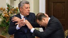 Драка лидера фракции Оппозиционный блок в Верховной раде Юрия Бойко с главой Радикальной партии Олегом Ляшко