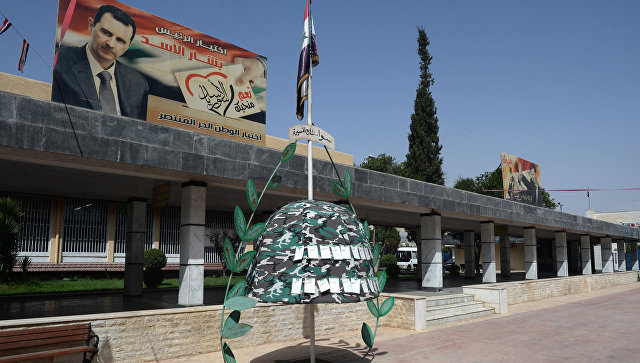 Здание дамасской школы, где учатся дети погибших военнослужащих сирийской армии