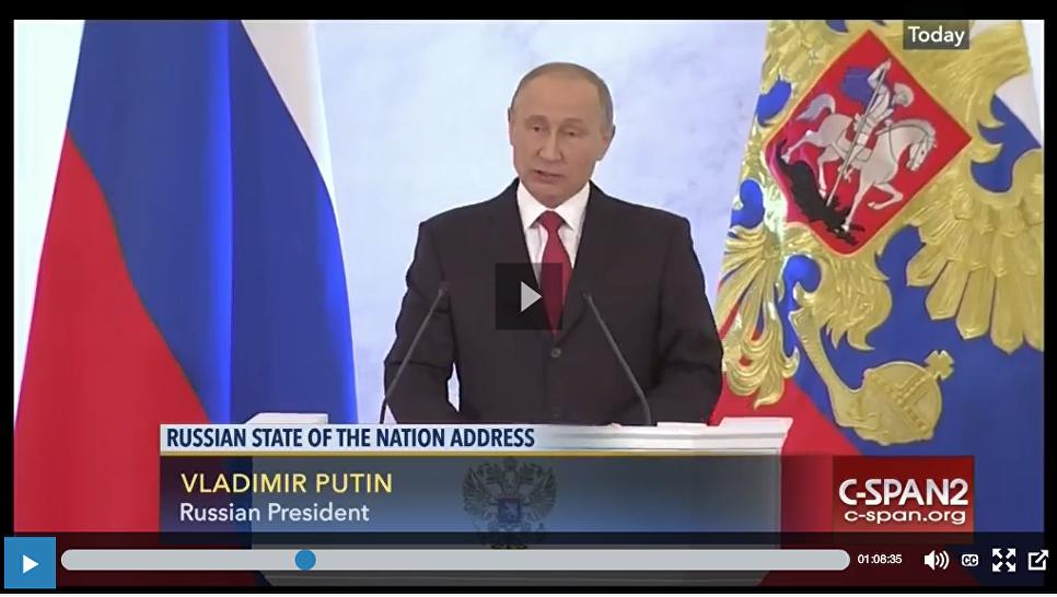 C-SPANСкриншот послания В.В. Путина Федеральному собранию показанный на канале C-SPAN