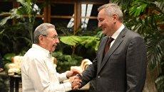 Председатель Государственного Совета Кубы Рауль Кастро на встрече с заместителем председателя правительства РФ Дмитрием Рогозиным. 9 декабря 2016