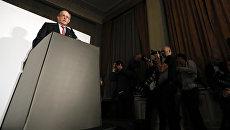 Глава независимой комиссии Всемирного антидопингового агентства (WADA) Ричард Макларен во время выступления в Лондоне. 9 декабря 2016