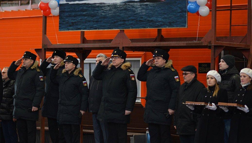 Церемония закладки малого ракетного корабля Буря в Петербурге