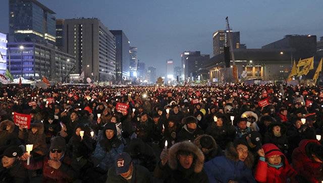 ВЮжной Корее около 250 тыс. человек вышли надемонстрацию против президента