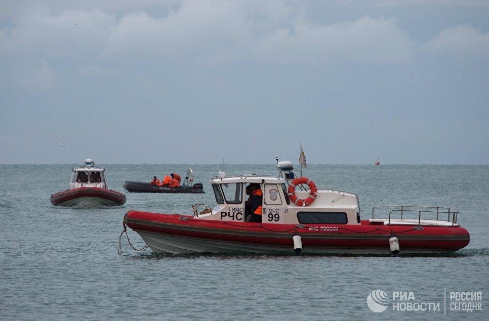 Поисково-спасательные работы у побережья Черного моря, где потерпел крушение самолет Минобороны РФ Ту-154. 26 декабря 2016