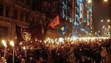 Марш активистов партии Свобода в Киеве в честь 108-й годовщины со дня рождения Степана Бандеры, 1 января 2017