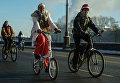 Участники Второго зимнего Московского Велопарада