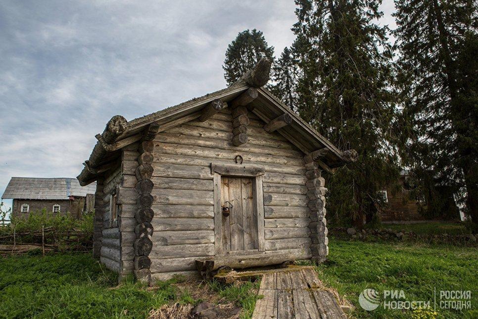 Деревянная изба в деревне Кинерма в Карелии