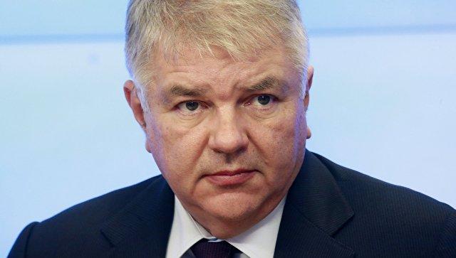 Заместитель главы МИД РФ Алексей Мешков на пресс-конференции. Архивное фото