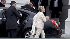 Hillary Clinton è arrivato per l'inaugurazione di Donald Trump.  20 gennaio 2017