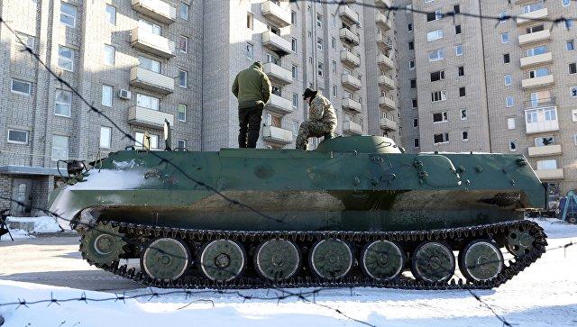Бронемашина ВСУ в Авдеевке, Украина. 30 января 2017. Архивное фото