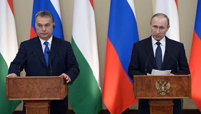 Президент России Владимир Путин и премьер-министр Венгрии Виктор Орбан во время совместной пресс-конференции в подмосковной резиденции Ново-Огарево. Архивное Фото.