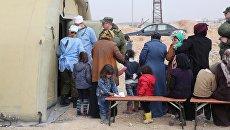 Пункт временного размещения беженцев Жибрин в Алеппо. Архивное фото