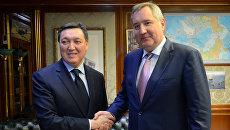 Рабочая встреча вице-премьера РФ Дмитрия Рогозина с 1-м вице-премьером Казахстана Аскаром Маминым