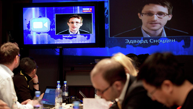Эдвард Сноуден на экранах телевизоров, апрель 2014