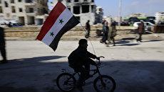 Мальчик с флагом Сирии в Алеппо. Архивное фото