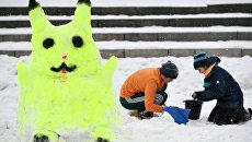 Снежная фигура на Арт-битве Снеговиков в Московском Дворце пионеров на Воробьевых горах