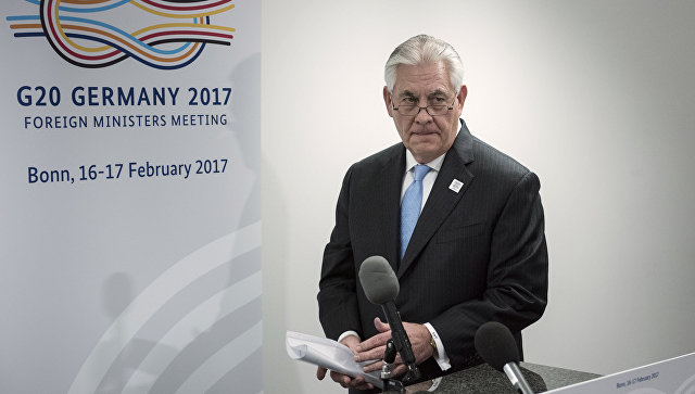 Госсекретарь США Рекс Тиллерсон во время встречи глав МИД G20 в Бонне. 16 февраля 2017