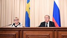 Министры иностранных дел РФ и Швеции Сергей Лавров и Маргот Вальстрем на пресс-конференции по итогам встречи. 21 февраля 2017