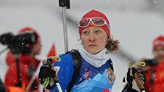 Анастасия Евсюнина (Россия) во время тренировки биатлонистов на III Всемирных зимних военных играх в Сочи