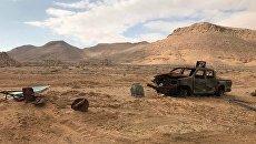 Сгоревший автомобиль неподалеку от историко-архитектурного комплекса Древней Пальмиры в сирийской провинции Хомс