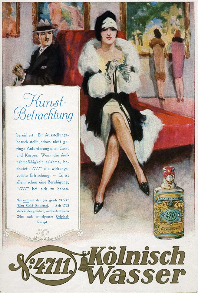 Реклама одеколона 4711. Журнал Die Dame, 1926 г.