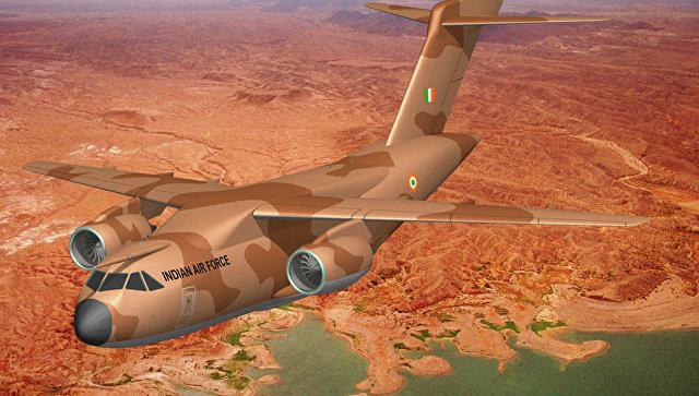 Многоцелевой транспортный самолет (Multirole Transport Aircraft) совместного Российско-Индийского производства. Архивное фото