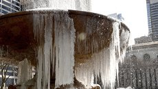 Замерзший фонтан в Брайант-парке, США. 13 марта 2017