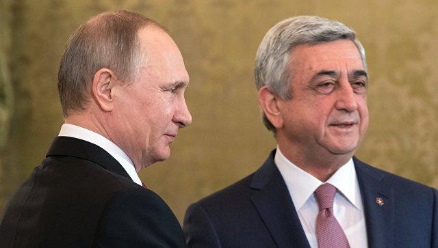 Путин в беседе с Саргсяном отметил активное сотрудничество РФ и Армении