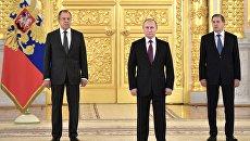 Президент РФ Владимир Путин на церемонии вручения верительных грамот послов иностранных государств в Александровском зале Большого Кремлёвского дворца. 16 марта 2017