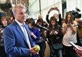 Председатель правления Сбербанка России Герман Греф отвечает на вопросы журналистов по итогам заседания наблюдательного совета в Москве