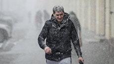Прохожий на улице во время снегопада в Москве. Архивное фото